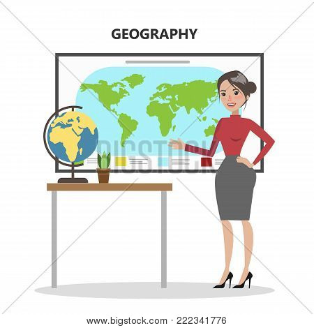 Isolated geography teacher with world map and globe.