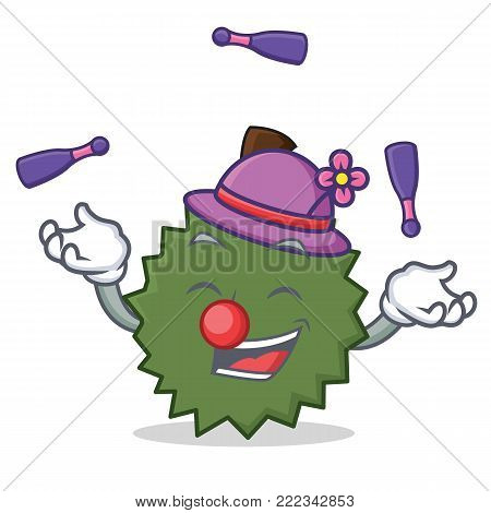 Juggling Durian mascot cartoon style vector illustration