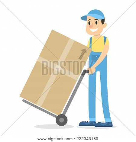 Delivery man with parcels on truck on white.