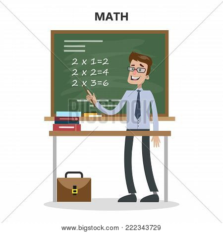 Isolated math teacher with board and table on white.