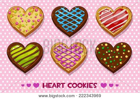 Vector Heart shaped Gingerbread and chocolate cookies with multi-colored glaze, set Happy Valentines day