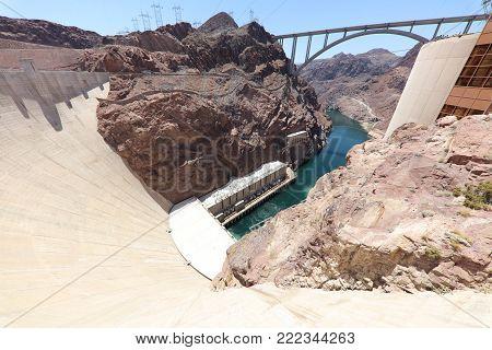 Hoover Dam on Colorado River at the Stateline of Nevada-Arizona. USA