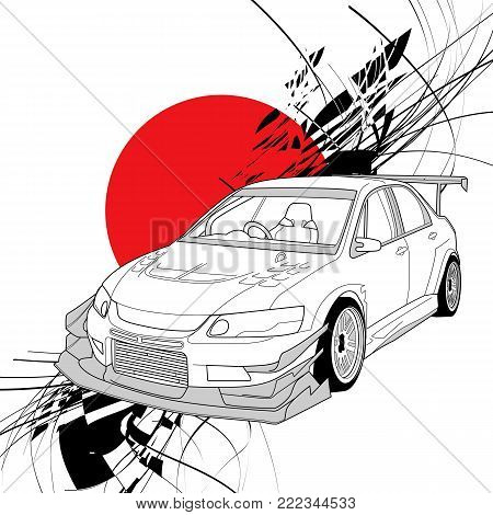 Rally Car Line Art with sun red japan background illustration