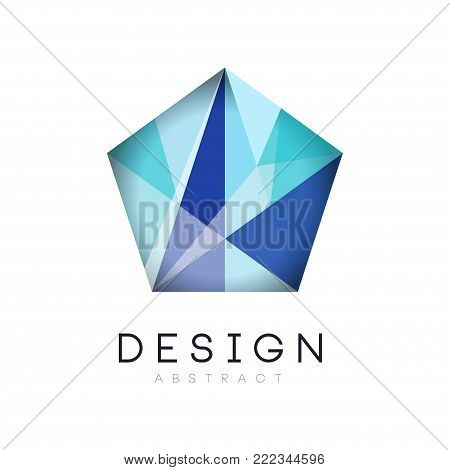Original crystal logo in gradient blue color. Company branding identity. Luxury geometric icon label. Design template for business sign, flyer, website or print. Vector illustration isolated on white.