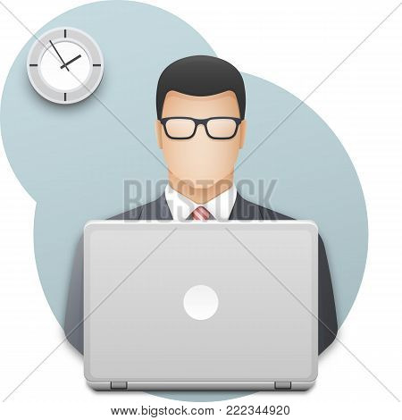 Icon of a businessman or office worker in glasses with laptop. Successful young man dressed in gray business suit and red tie working on laptop on wall background with office clock. Vector illustration