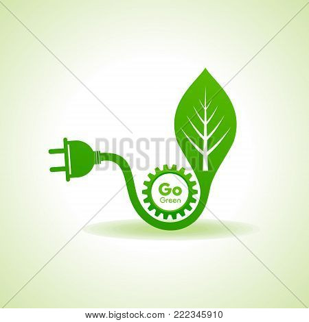 Eco Energy Concept with leaf,plug and gear stock vector