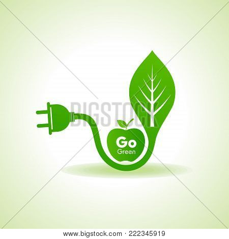 Eco Energy Concept with leaf,plug and green apple stock vector