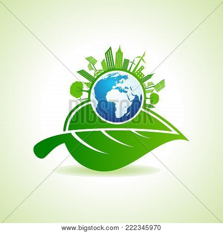 Eco Energy Concept with leaf,cityscape and earth stock vector