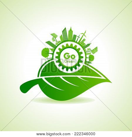 Eco Energy Concept with leaf,cityscape and gear stock vector