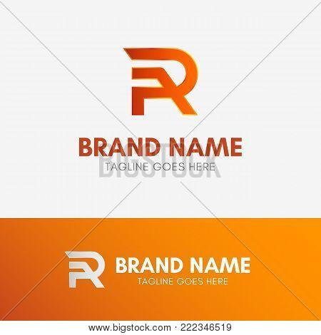 Letter R Line Logo template element symbol in orange color