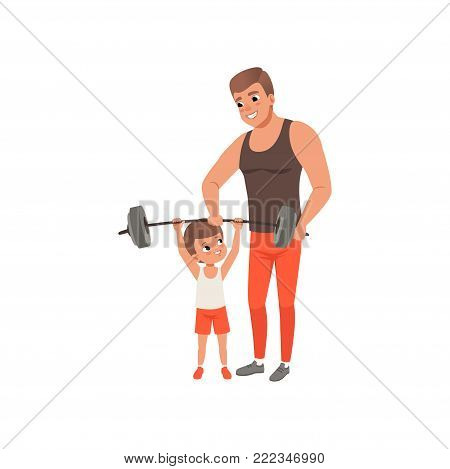 Young sporty father helping his little son exercising with barbell. Family at gym. Fatherhood concept. Physical activity and healthy lifestyle. Cartoon flat vector design isolated on white background.
