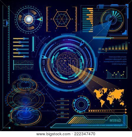 Digital interface or futuristic computer touchscreen dashboard control or HUD system interface elements template. Vector cyber or virtual cosmic infographics future design of hologram world map