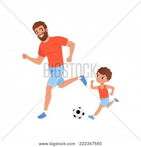 Little boy and his father playing football on playground. Outdoor activity. Fatherhood concept. Sporty family. Son and dad in sportswear. Cartoon flat vector illustration isolated on white background.