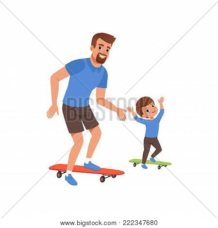 Bearded father and his little son riding on skateboard. Fatherhood concept. Dad and child having fun together. Outdoor activity. Happy family. Cartoon flat vector illustration isolated on white.