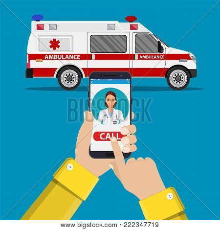 call ambulance car via mobile phone, concept emergency call. Smartphone in hand with doctor and ambulance car behind. Vector illustration in flat style