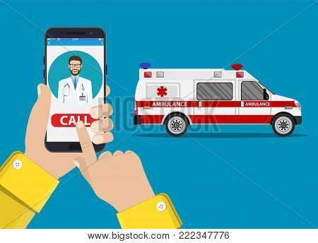 call ambulance car via mobile phone, concept emergency call. Smartphone in hand with doctor and ambulance car. Vector illustration in flat style