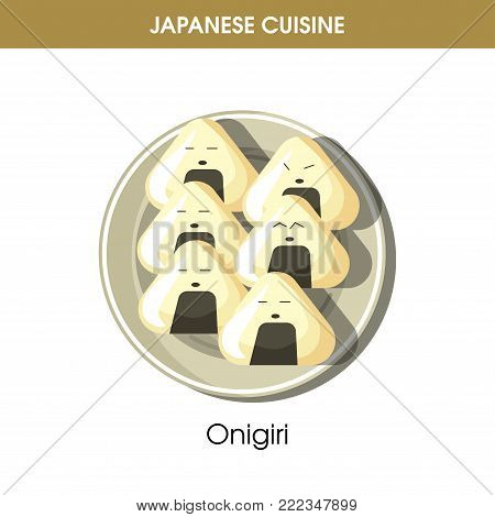 Delicious Onigiri on plate from traditional Japanese cuisine isolated cartoon flat vector illustration on white background. Dish made of rice with stuffing wrapped in sheet of nori dried seaweed.