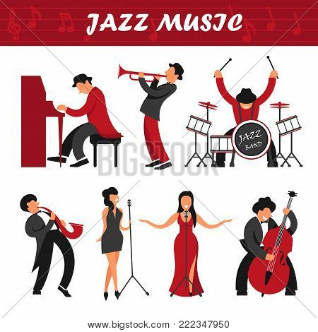 Jazz music band musicians, singers and performers vector icons. Man playing musical instrument piano, saxophone or drum station and woman singing isolated jazz stage people characters