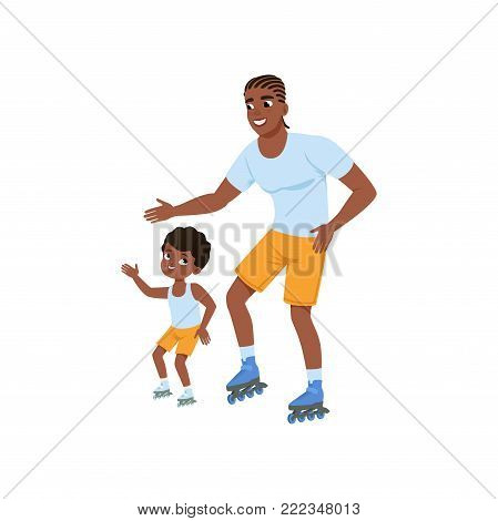 Young afro-american father with son rollerskating. Happy sporty family. Dad and his child having fun together. Outdoor activity. Fatherhood concept. Cartoon flat vector illustration isolated on white.