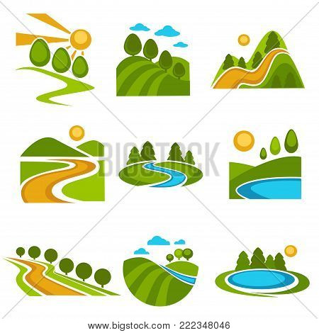Nature landscape logo templates for green ecology environment or landscaping designing and horticulture or travel company. Vector isolated labels of forest trees, river in valley and sun or mountains