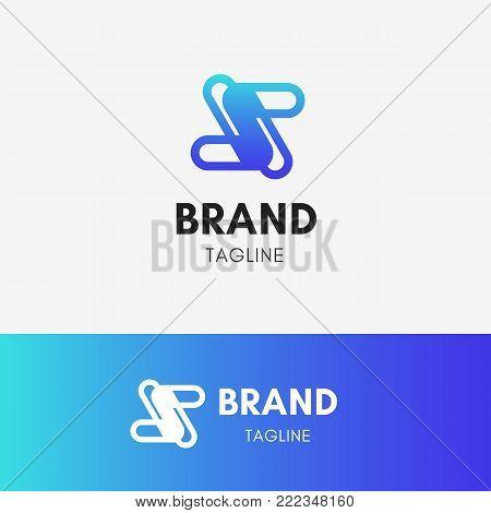 Letter S Technology Logo template element symbol in blue color