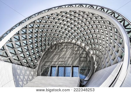 TBILISI, GEORGIA - JULE 27, 2017: Building structures of modern urban architecture close-up. Palace of Culture of Tbilisi, Georgia. It is located in the park of Rica.
