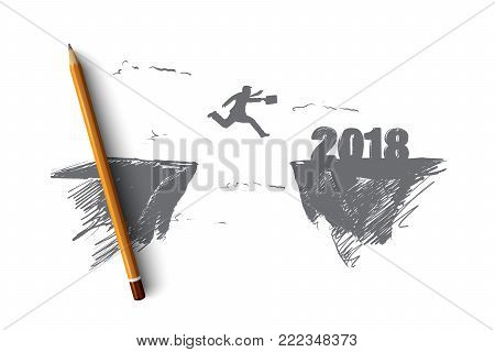 Businessman jump to 2018 concept. Hand drawn man jump between 2017 and 2018 years. Silhouette of businessman jump into new year for success isolated vector illustration.
