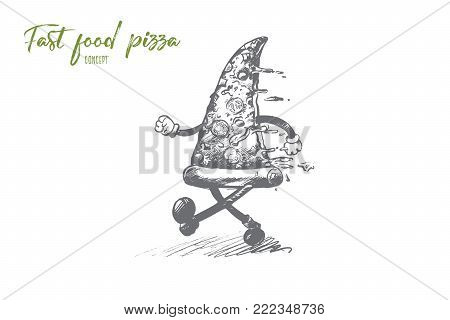 Fast food pizza concept. Hand drawn piece of delicious pizza with ham and vegetables running. Dinner with unhealthy food isolated vector illustration.