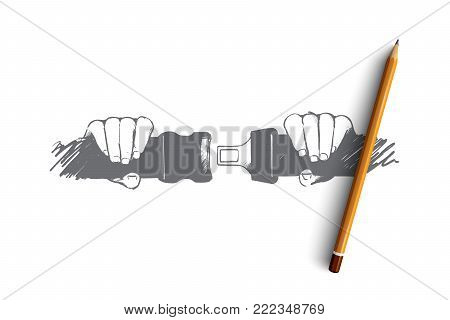 Safe driving concept. Hand drawn person fastening seat belt in car. Protection of passenger in automobile isolated vector illustration.