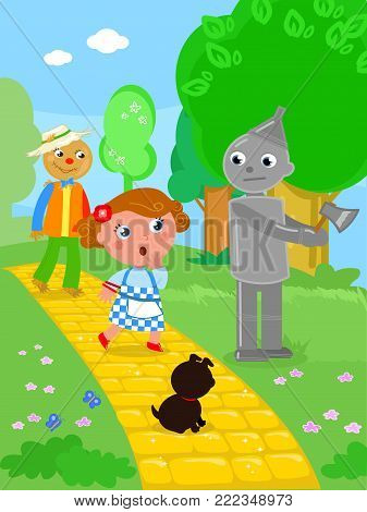 Wizard fairy tale. Little girl and the Scarecrow meet the Tin Man in the wood