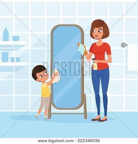 Smiling little boy helping his mother at housework. Mom spraying detergent from bottle, son cleaning bathroom mirror with rag. Woman and child. Cartoon people characters. Colorful flat vector design.
