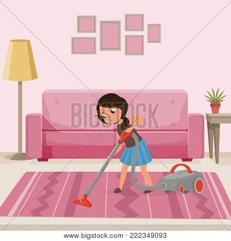 Cheerful teen girl cleaning carpet with vacuum cleaner at living room. Child helping with housework. Sofa, lamp, flower on table and pictures on wall. Cartoon character. Colorful flat vector design.