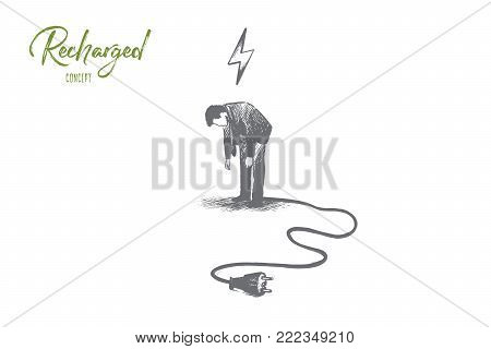 Recharge trainer concept. Hand drawn discharge businessman need to relax. Person needs energy for success isolated vector illustration.
