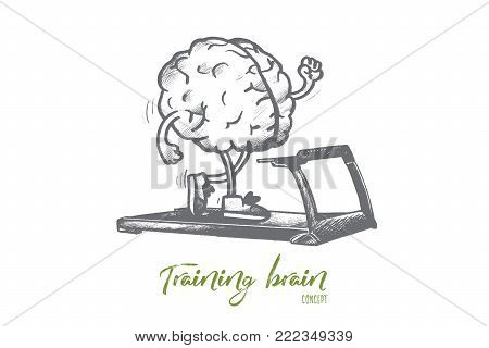 Training brain concept. Hand drawn human brain training on running track. Improving intellect skills isolated vector illustration.