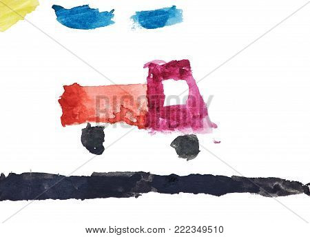 Children's watercolor drawing of a truck that riding along the road with clouds and sun. Isolated on white