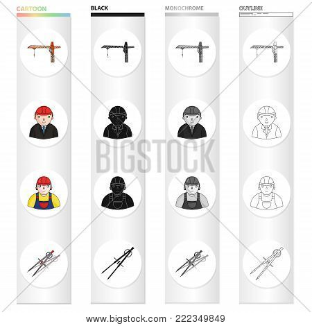 Construction crane, chief, architect, foreman, dividers. Architecture set collection icons in cartoon black monochrome outline style vector symbol stock illustration .