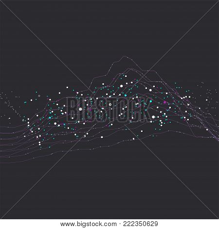 Big data stream futuristic infographic. Quantum computing, cryptography, trendy technologies infographic. Colorful particle wave. Bigdata visualization. Abstract visual data vector design. poster