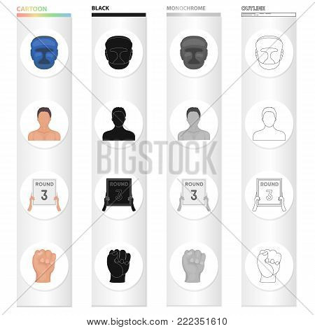 Protective helmet, boxer's appearance, 3-round tablet, fist. Boxing set collection icons in cartoon black monochrome outline style vector symbol stock illustration .