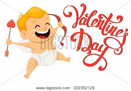 Valentines Day greeting card with cute cupid and handmade lettering. Cute cartoon character. Vector illustration on white background.