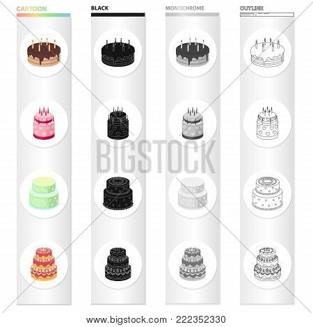 A festive cake and other types of dessert. Cakes set collection icons in cartoon black monochrome outline style vector symbol stock illustration .