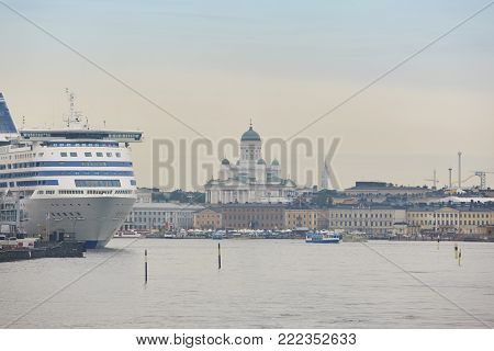 Helsinki harbor, city center and lutheran cathedral. Travel Finland. Horizontal