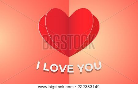 Love confession card illustration with vivid background and paper heart