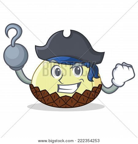 Pirate snake fruit character cartoon vector illustration