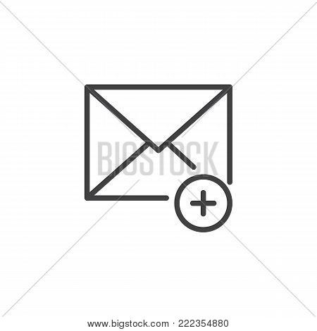 Add new message line icon, outline vector sign, linear style pictogram isolated on white. Envelope with add mark symbol, logo illustration. Editable stroke