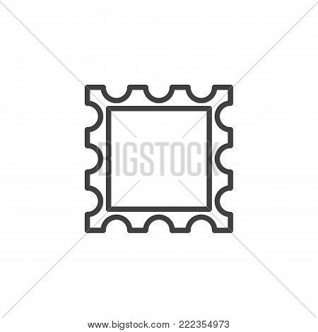 Post stamp frame line icon, outline vector sign, linear style pictogram isolated on white. Symbol, logo illustration. Editable stroke