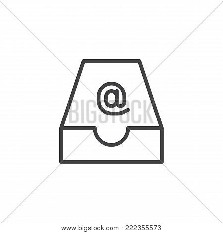 Drawer mail box line icon, outline vector sign, linear style pictogram isolated on white. Symbol, logo illustration. Editable stroke
