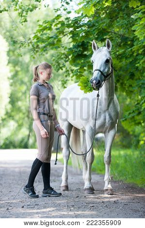 Pretty young blondy cheerful teenage girl equestrian standing with her favorite white horse eating green maple leaves  in summer park. Vibrant colored outdoors vertical image.