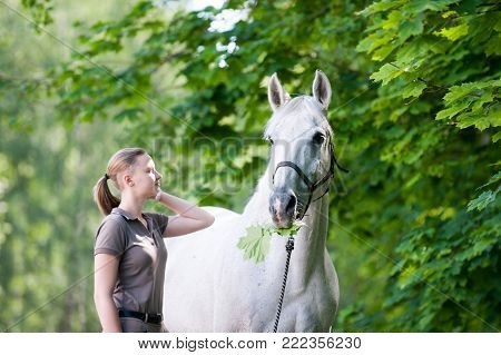 Pretty young blondy cheerful teenage girl equestrian standing with her favorite white horse eating green maple leaves  in summer park. Vibrant colored outdoors horizontal image.