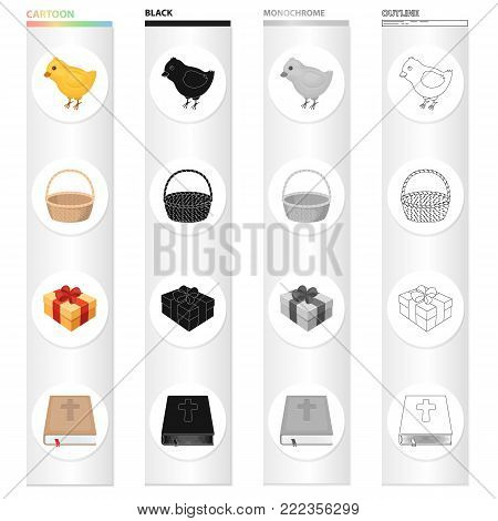 Easter is a Christian holiday cartoon black monochrome outline icons in set collection for design. Easter attributes vector symbol stock illustration.