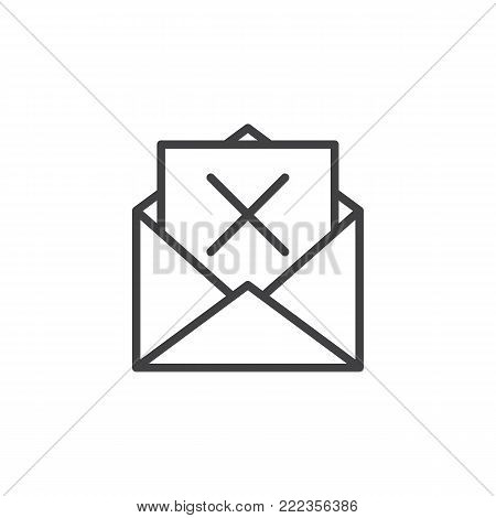 Mail delete line icon, outline vector sign, linear style pictogram isolated on white. Remove email envelope symbol, logo illustration. Editable stroke